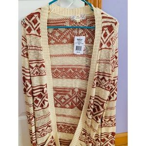 Aztec print long cardigan new with tags!